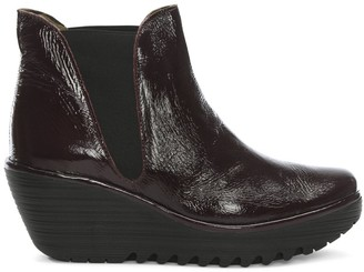 Fly London Woss Purple Patent Leather Mid Wedge Ankle Boots