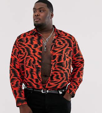 Asos Design DESIGN Plus regular fit long sleeve shirt in zigzag print in red