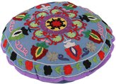 Rajrang Vintage Round Gray Ottoman Cotton Floral Embroidered Pouf Cover Decor By Rajrang