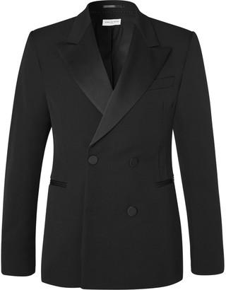 Dries Van Noten Black Slim-Fit Double-Breasted Satin-Trimmed Wool-Twill Tuxedo Jacket