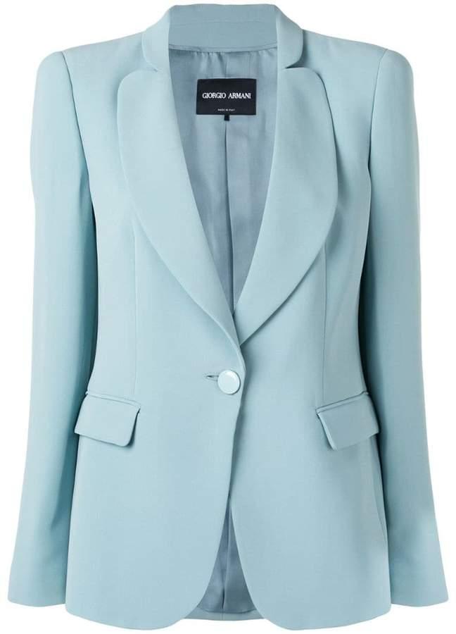 Giorgio Armani one-button fitted silk blazer