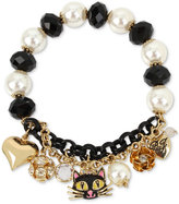 Betsey Johnson Two-Tone Black Cat Beaded Charm Bracelet