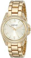 August Steiner Women's AS8149YG Crystal-Accented Gold-Tone Watch with Link Bracelet