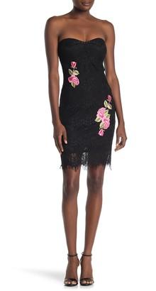 Jump Strapless Eyelash Lace Floral Sheath Dress