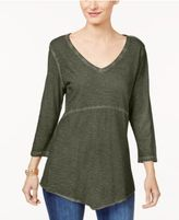 Style&Co. Style & Co Cotton Scarf-Hem T-Shirt, Created for Macy's