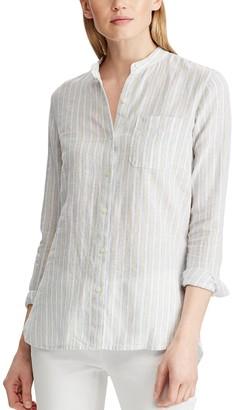 Chaps Women's Print Linen-Blend Shirt