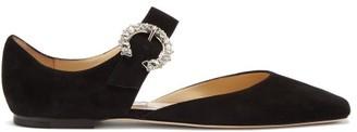 Jimmy Choo Gin Crystal-embellished Mary-jane Suede Flats - Black
