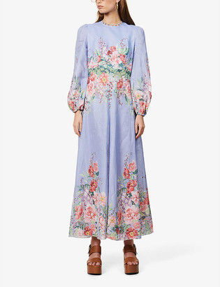 Zimmermann Floral-print linen maxi dress