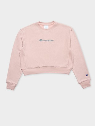 Champion Reverse Weave Overdyed Crew Jumper in Hush Pink
