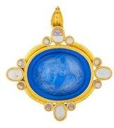 Elizabeth Locke 18K Venetian Glass, Moonstone, & Mother of Pearl Brooch Pendant