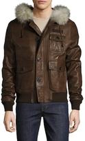 Michael Bastian Leather Fur Bomber