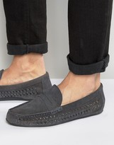 Frank Wright Leeward Woven Loafers In Navy Leather
