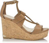 Jimmy Choo NELSON 100 Tan Vacchetta Leather Cork Wedges
