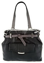 B. Makowsky As Is Leather Belted Tote Bag with Front Pocket