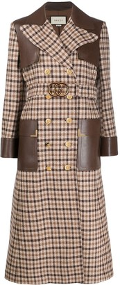 Gucci Leather-Panel Double-Breasted Check Coat