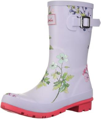 Joules Women's MOLLYWELLY Rain Boot Silver Botanical 6 Medium US