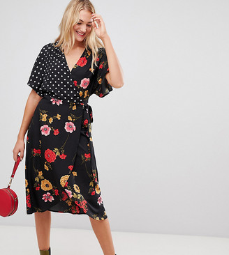 Influence Tall kimono sleeve wrap dress in mix and match print-Black