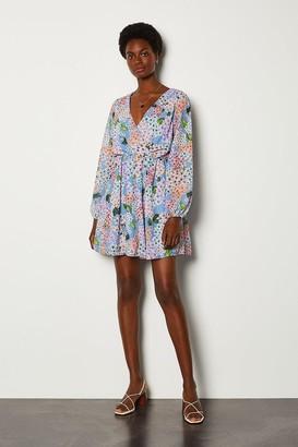 Karen Millen Ditsy Floral Sleeved Wrap Dress