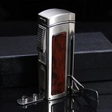 Tsc Massive Rosewood Table Lighter With Cigar Punch And Cigar Scissors