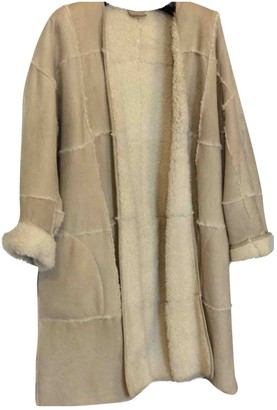 Trussardi Beige Leather Coat for Women Vintage