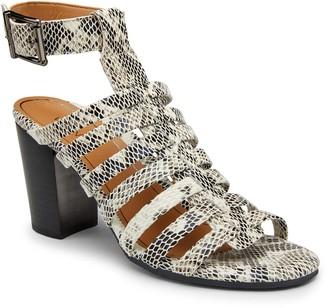 Vionic Leather Print Ankle Strap Heels - Sami Snake