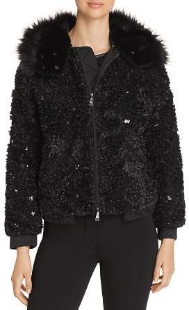 Emporio Armani Sequined Hooded Bomber Jacket