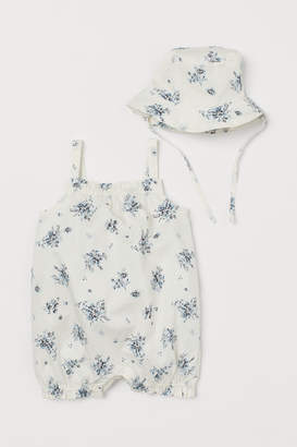 H&M Jumpsuit and Sun Hat - White