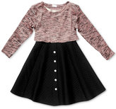 Sweet Heart Rose Marled-Knit Quilted Dress, Little Girls (2-6X)