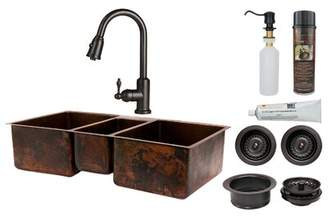Premier Copper Products Hammered Triple Basin Kitchen Sink with ORB Pull Down Faucet, Drain and Accessories Premier Copper Products
