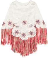 Chloé Fringed Embroidered Crocheted Cotton Poncho - Ecru
