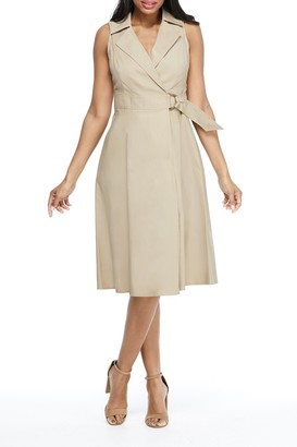 London Times Fit & Flare Belted Wrap Dress