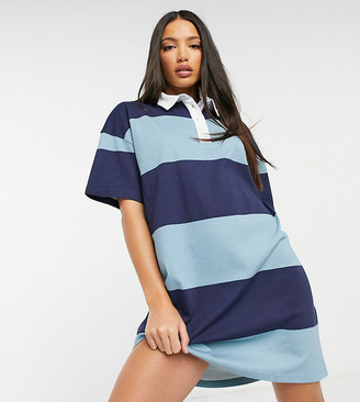 Asos Tall ASOS DESIGN Tall rugby stripe short-sleeved T-shirt dress in blue stripe