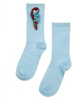 Laines London Powder Blue Glitter Socks With Crystal Parrot Brooch