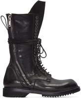 Rick Owens Black DB Zip Lace-Up Boots