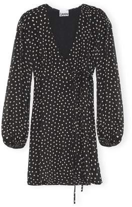 Ganni Printed Georgette Wrap Mini Dress in Black