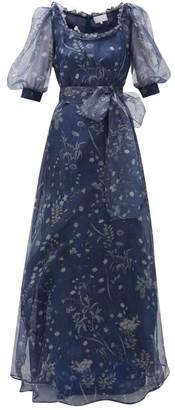 Luisa Beccaria Puff-sleeve Floral-print Silk-organza Gown - Blue