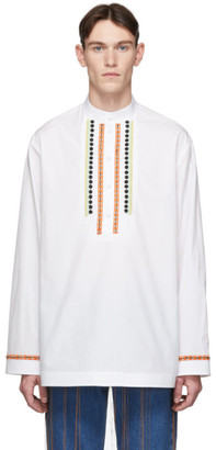 Valentino White and Multicolor Embroidered Shirt