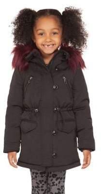 Dex Little Girl's Faux Fur-Trim Hooded Cotton-Blend Coat
