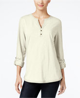 Style&Co. Style & Co. Crochet-Trim Henley Top, Only at Macy's