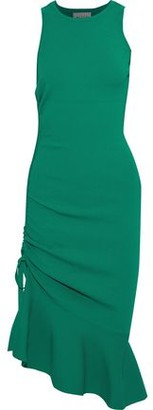 Milly Fluted Ruched Ponte Dress
