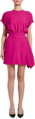 No.21 Short-Sleeve Asymmetric Mini Dress