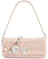 Miu Miu Medium Swarovski Crystal Chain Leather Shoulder Bag - Beige