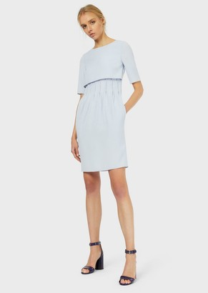 Emporio Armani Dress In Tech Cady With Ribbing At The Waist