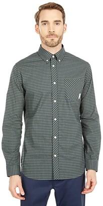 Ben Sherman Long Sleeve Gingham Shirt (Thyme) Men's Clothing