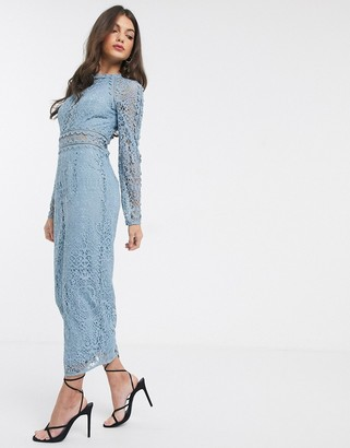 Asos Design DESIGN long sleeve pencil dress in lace with geo lace trims dusty blue