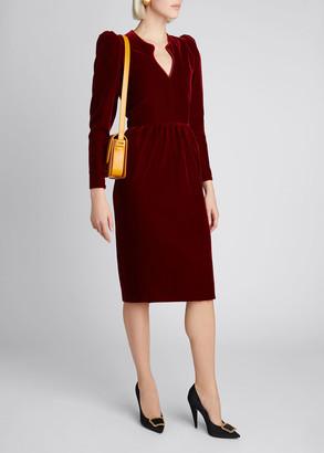 Saint Laurent V-Neck Puff-Sleeve Velvet Dress