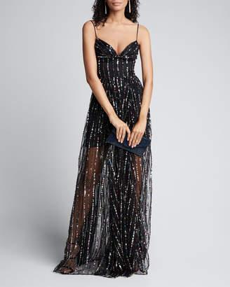 Rasario Multi-Sequined Chiffon Strapless Corset Gown