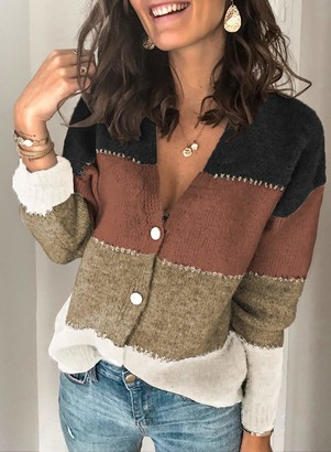 CORAFRITZ Womens Cable Knitted Button Cardigan Long Sleeve Color Block Sweater Ladies Boyfriend Top Multicolor S