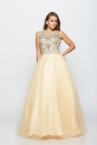 Milano Formals - Sleeveless Bejeweled High Neck Long A-line Dress E2180
