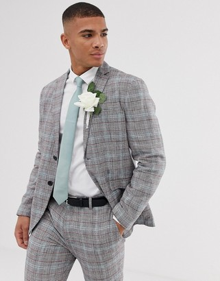 Selected slim suit jacket in check cotton linen-Black